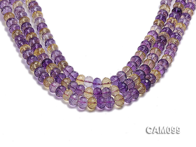 Wholesale 8x10mm Wheel-shaped Faceted Ametrine Beads Loose String