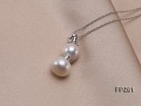 Snowman-shaped White Cultured Freshwater Pearl Pendant with a Sterling Silver Chain