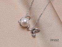 LOVE-shaped 10mm White Round Freshwater Pearl Pendant with a Sterling Silver Chain