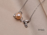 LOVE-shaped 10mm Pink Round Freshwater Pearl Pendant with a Sterling Silver Chain