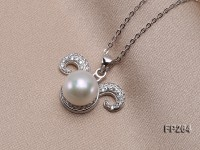10mm White Round Freshwater Pearl Pendant with a Sterling Silver Chain