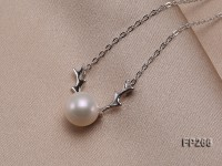 9.5mm White Round Freshwater Pearl Pendant with a Sterling Silver Chain