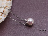 8.5mm White Round Freshwater Pearl Pendant with a Sterling Silver Chain