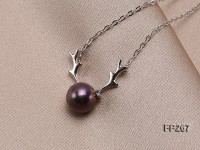 8.5mm Dark Purple Round Freshwater Pearl Pendant with a Sterling Silver Chain