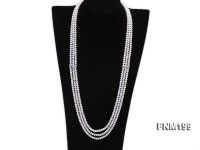 Three-strand Selected 4×5.5mm White Cultured Freshwater Pearl Necklace
