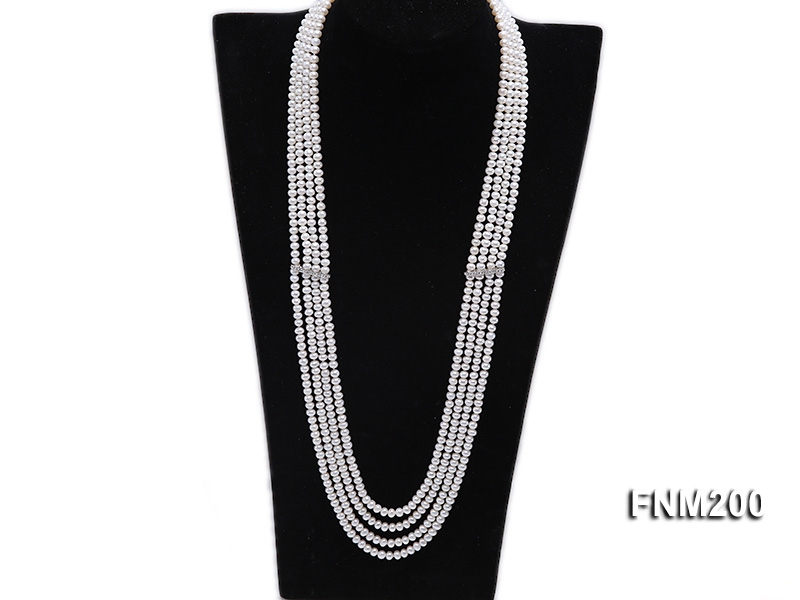 Four-strand Selected 4×5.5mm White Cultured Freshwater Pearl Necklace