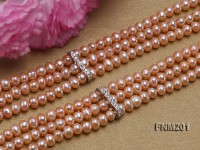 Three-strand 3x5mm Pink Freshwater Pearl Necklace
