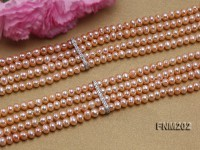 Four-strand Selected 3.5×5.5mm Pink Freshwater Cultured Pearl Necklace
