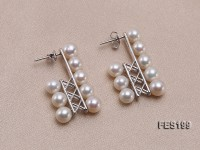 6-7mm Natural White Round Freshwater Pearl Stud Earrings