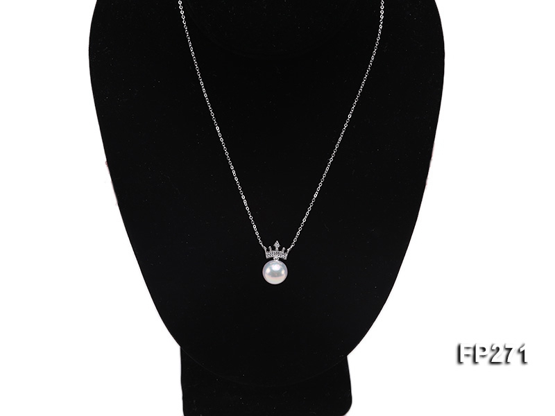 Quality 13mm White Round Freshwater Pendant with Sterling Silver Chain