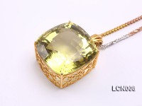 Natural Lemon Quartz Pendant with an 18k Gold Pendant Bail