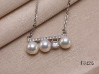 8mm White Freshwater Pearl Pendant with a Sterling Silver Chain