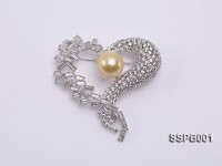 12mm South Sea Golden Pearl Brooch Set on Sterling Silver Bail with Zircons