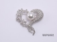 14.5mm South Sea White Pearl Brooch Set on Sterling Silver Bail with Zircons