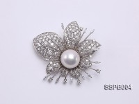 15.2mm South Sea White Pearl Brooch Set on Sterling Silver Bail with Zircons