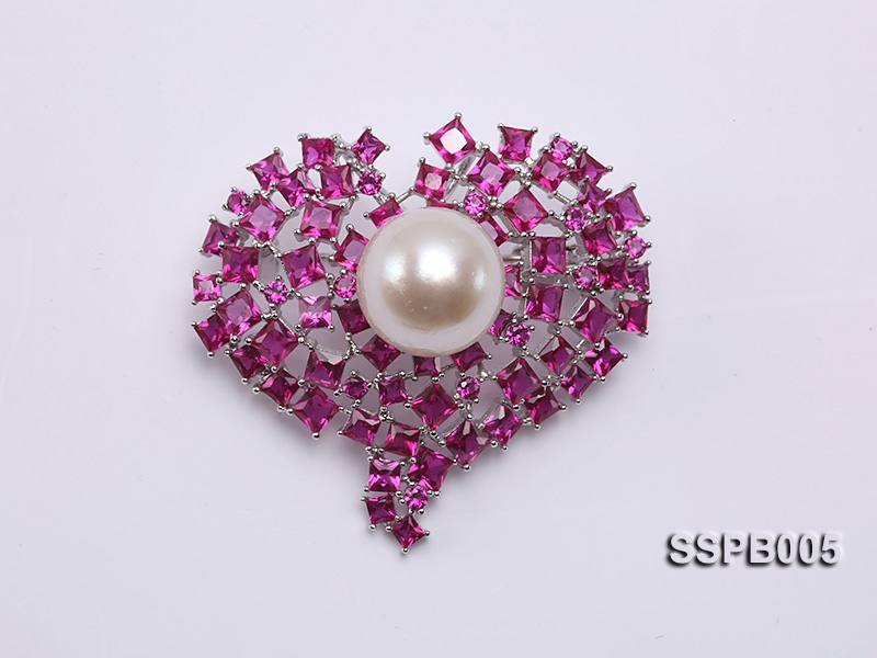 14mm South Sea White Pearl Brooch Set on Sterling Silver Bail with Zircons