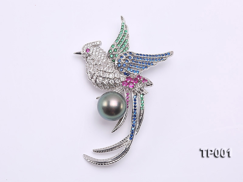 Bird-style 14mm Black Tahitian Pearl Brooch in Silver
