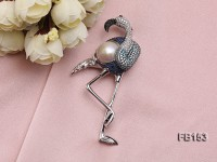 15.5mm Edison Pearl Brooch Set on Sterling Silver Bail with Zircons
