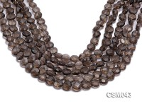 Wholesale 10mm Button-shaped Faceted Smoky Quartz Beads Loose String