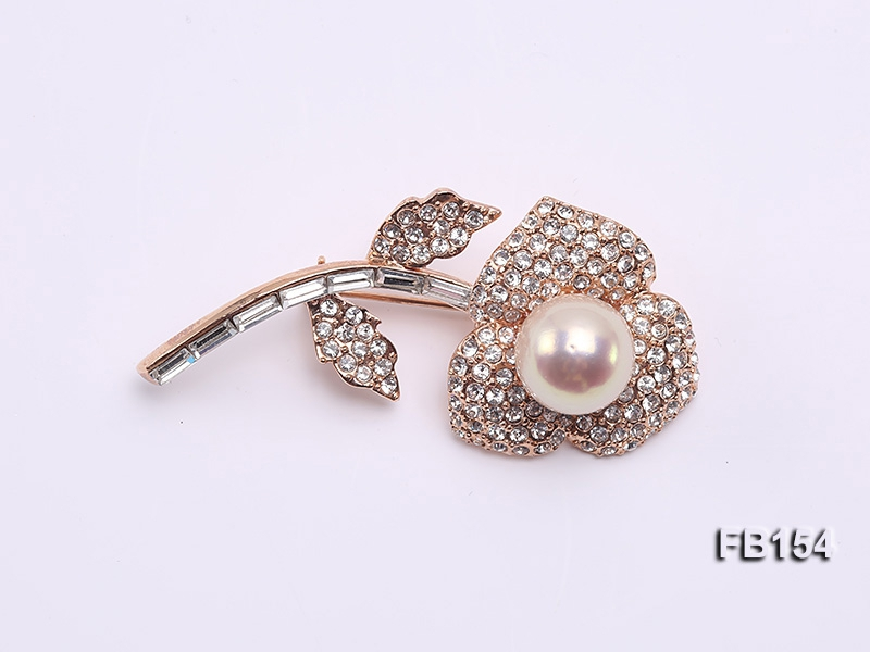 12.5mm Edison Pearl Brooch Set on Sterling Silver Bail with Zircons