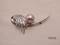 Edison Pearl Brooch Set on Sterling Silver Bail with Zircons