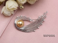 13mm South Sea Golden Pearl Brooch Set on Sterling Silver Bail with Zircons
