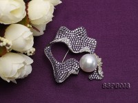 11mm South Sea White Pearl Brooch Set on Sterling Silver Bail with Zircons