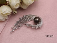 13.5mm Tahitian Black Pearl Brooch Set on Sterling Silver Bail with Zircons
