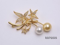 11mm South Sea Pearl Brooch Set on Sterling Silver Bail with Zircons