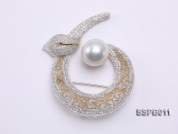 16mm South Sea White Pearl Brooch Set on Sterling Silver Bail with Zircons