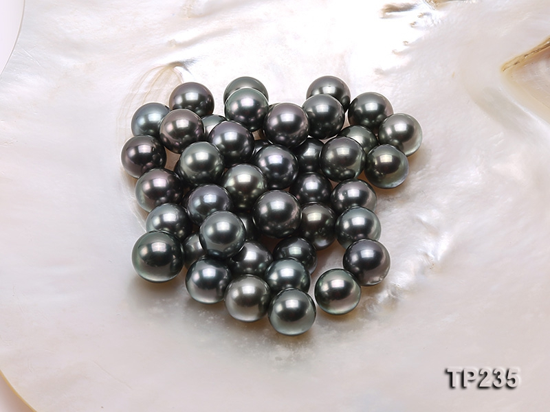 11-12mm Black Round Loose Tahitian Pearls
