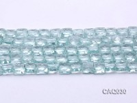 Wholesale 8mm Square Faceted Simulated Aquamarine Pieces Loose String
