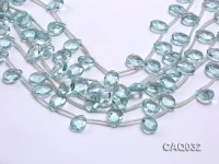 Wholesale 12x16mm Drop-shaped Faceted Simulated Aquamarine Pieces Loose String