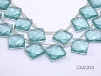 Wholesale 25mm Square Faceted Simulated Aquamarine Pieces Loose String
