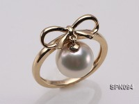 14k Yellow Gold Ring Set with a 9mm Round White Akoya Pearls