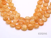 Wholesale 20mm Button-shaped Orange Synthetic Quartz Beads Loose String
