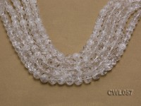Wholesale 11mm Round Inner-cracked Faceted Rock Crystal Beads Loose String