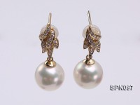 9mm Round White Akoya Pearl Earring with 14k Gold Earring Studs