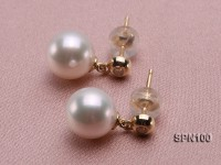 9mm Round White Akoya Pearl Earring with 14k Gold Earring Stud