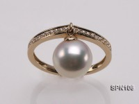 14k yellow gold ring set with a 9mm round white Akoya pearl