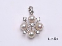 Selected 5mm White Round Natural Akoya Pearl Pendant with 14k Gold Bail