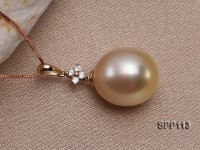 Drop-shaped Golden South Sea Pearl Pendant with 14k Gold Chain
