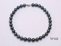 12-14mm Perfectly Round Black Tahitian Pearl Necklace with Sterling Silver Clasp