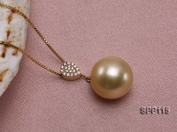 13.5mm Perfectly Round Golden South Sea Pearl Pendant with 18k Gold Bail & Chain