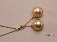 14.5mm Golden South Sea Pearl Pendant with 18k Gold Chain Dotted with Diamonds