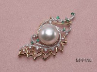 14mm White South Sea Pearl Pendant with 18k Gold Bail Dotted with Diamonds and Emeralds