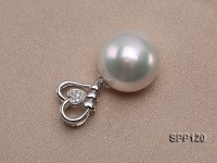 13x15mm White South Sea Pearl Pendant with 18k Gold Bail Dotted with Diamonds