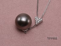 12mm Black Tahitian Pearl Pendant with 18k Gold Chain Dotted with Zircons