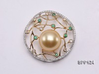 13mm Perfectly Round Golden South Sea Pearl Pendant with 18k Gold Bail, Diamonds & Emeralds