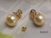 13mm Golden South Sea Pearl Earrings with 18k Gold Studs Dotted with Diamonds